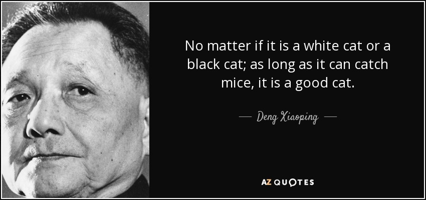 No matter if it is a white cat or a black cat; as long as it can catch mice, it is a good cat. - Deng Xiaoping