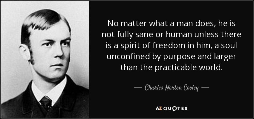 No matter what a man does, he is not fully sane or human unless there is a spirit of freedom in him, a soul unconfined by purpose and larger than the practicable world. - Charles Horton Cooley
