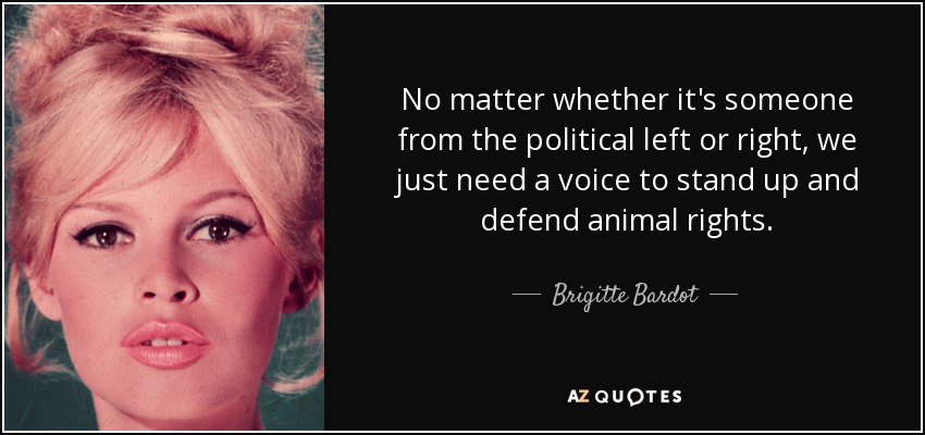 No matter whether it's someone from the political left or right, we just need a voice to stand up and defend animal rights. - Brigitte Bardot