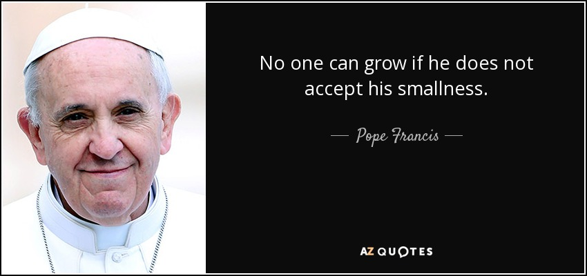 No one can grow if he does not accept his smallness. - Pope Francis