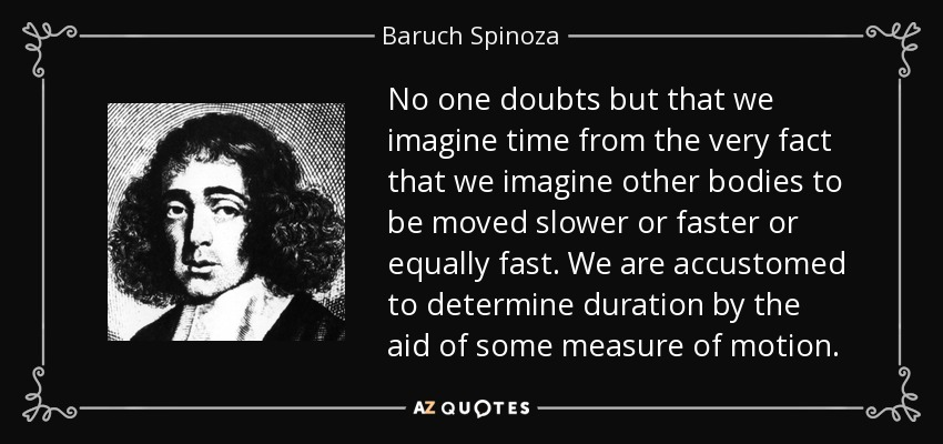No one doubts but that we imagine time from the very fact that we imagine other bodies to be moved slower or faster or equally fast. We are accustomed to determine duration by the aid of some measure of motion. - Baruch Spinoza