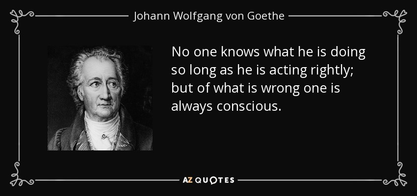No one knows what he is doing so long as he is acting rightly; but of what is wrong one is always conscious. - Johann Wolfgang von Goethe