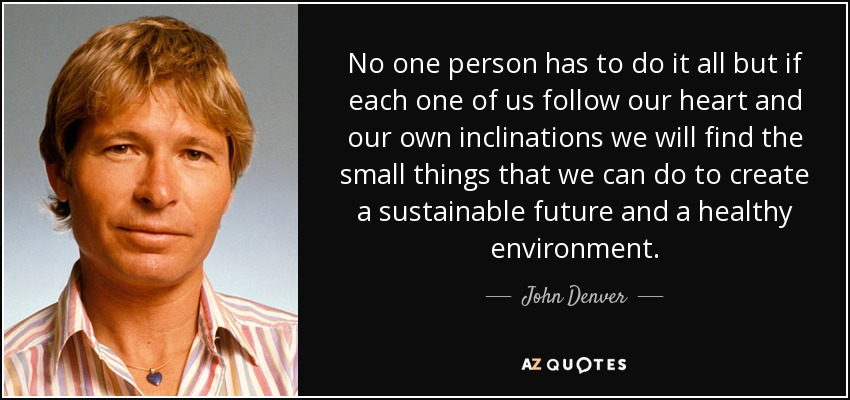 No one person has to do it all but if each one of us follow our heart and our own inclinations we will find the small things that we can do to create a sustainable future and a healthy environment. - John Denver