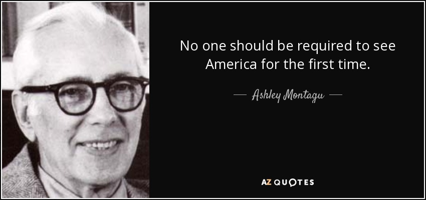 No one should be required to see America for the first time. - Ashley Montagu