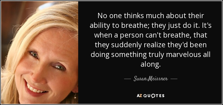 No one thinks much about their ability to breathe; they just do it. It's when a person can't breathe, that they suddenly realize they'd been doing something truly marvelous all along. - Susan Meissner