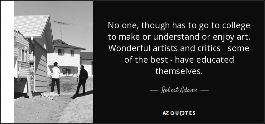 No one, though has to go to college to make or understand or enjoy art. Wonderful artists and critics - some of the best - have educated themselves. - Robert Adams