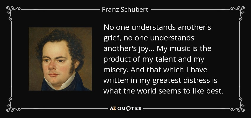 No one understands another's grief, no one understands another's joy... My music is the product of my talent and my misery. And that which I have written in my greatest distress is what the world seems to like best. - Franz Schubert