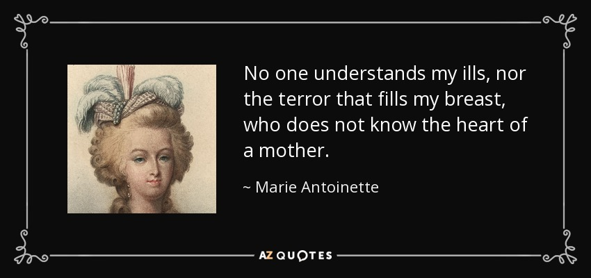 No one understands my ills, nor the terror that fills my breast, who does not know the heart of a mother. - Marie Antoinette