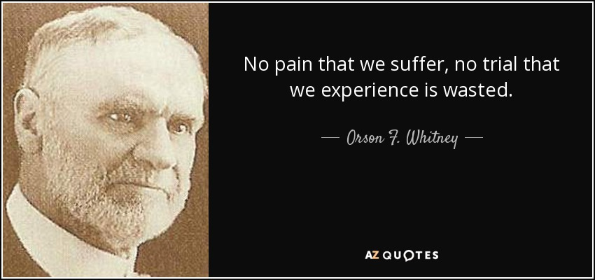 No pain that we suffer, no trial that we experience is wasted. - Orson F. Whitney