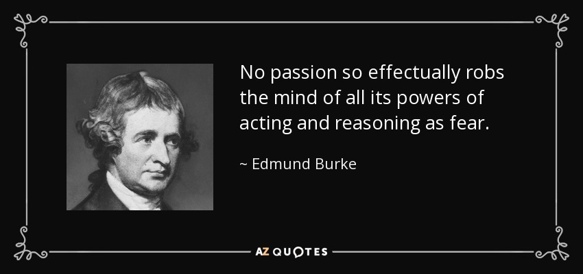 No passion so effectually robs the mind of all its powers of acting and reasoning as fear. - Edmund Burke