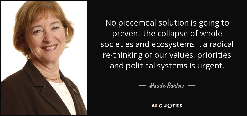 No piecemeal solution is going to prevent the collapse of whole societies and ecosystems ... a radical re-thinking of our values, priorities and political systems is urgent. - Maude Barlow