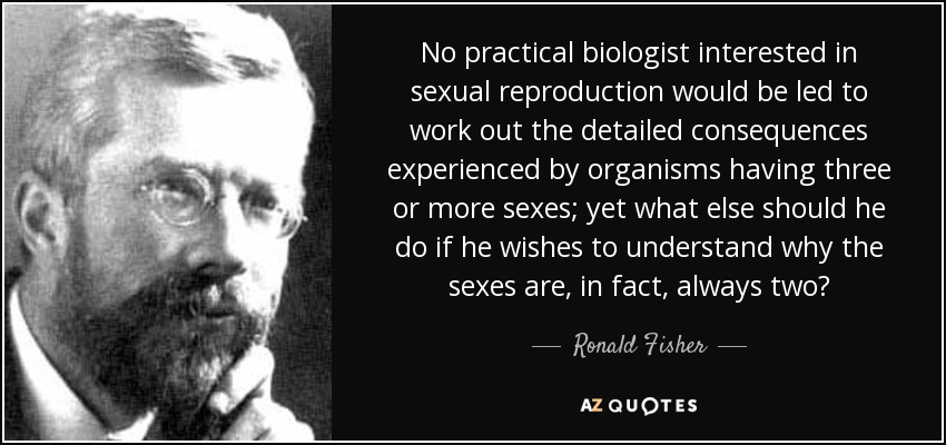 No practical biologist interested in sexual reproduction would be led to work out the detailed consequences experienced by organisms having three or more sexes; yet what else should he do if he wishes to understand why the sexes are, in fact, always two? - Ronald Fisher