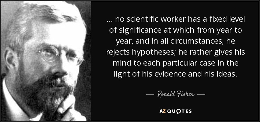 ... no scientific worker has a fixed level of significance at which from year to year, and in all circumstances, he rejects hypotheses; he rather gives his mind to each particular case in the light of his evidence and his ideas. - Ronald Fisher