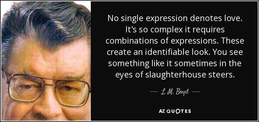 No single expression denotes love. It's so complex it requires combinations of expressions. These create an identifiable look. You see something like it sometimes in the eyes of slaughterhouse steers. - L. M. Boyd