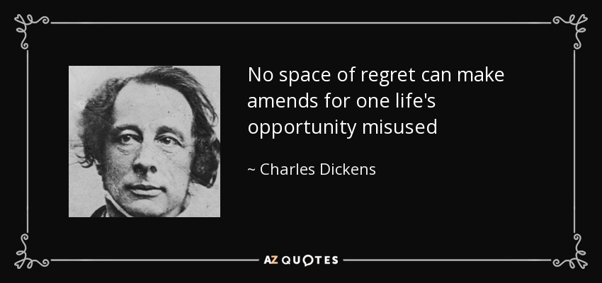 No space of regret can make amends for one life's opportunity misused - Charles Dickens