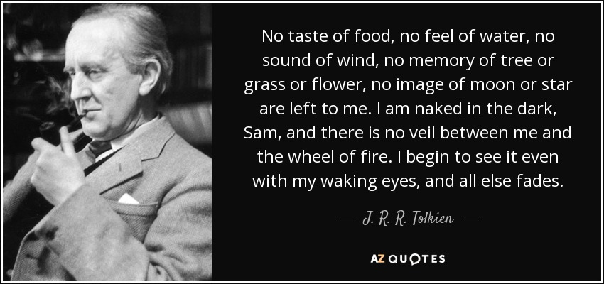 No taste of food, no feel of water, no sound of wind, no memory of tree or grass or flower, no image of moon or star are left to me. I am naked in the dark, Sam, and there is no veil between me and the wheel of fire. I begin to see it even with my waking eyes, and all else fades. - J. R. R. Tolkien