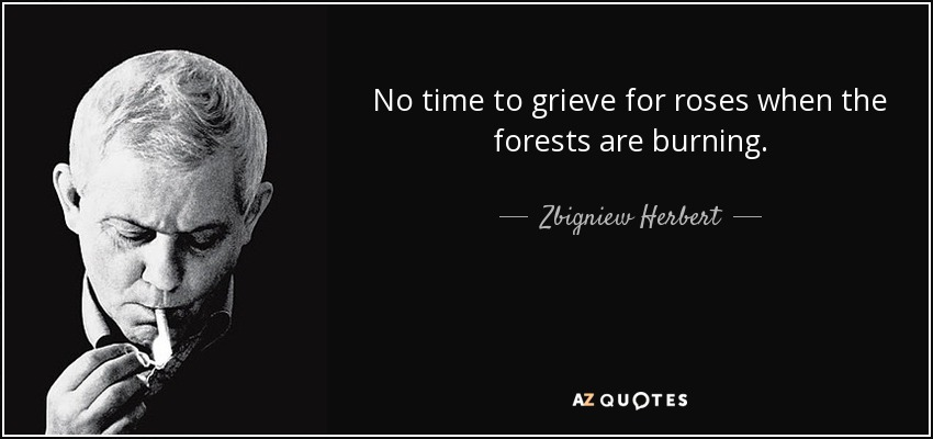 No time to grieve for roses when the forests are burning. - Zbigniew Herbert