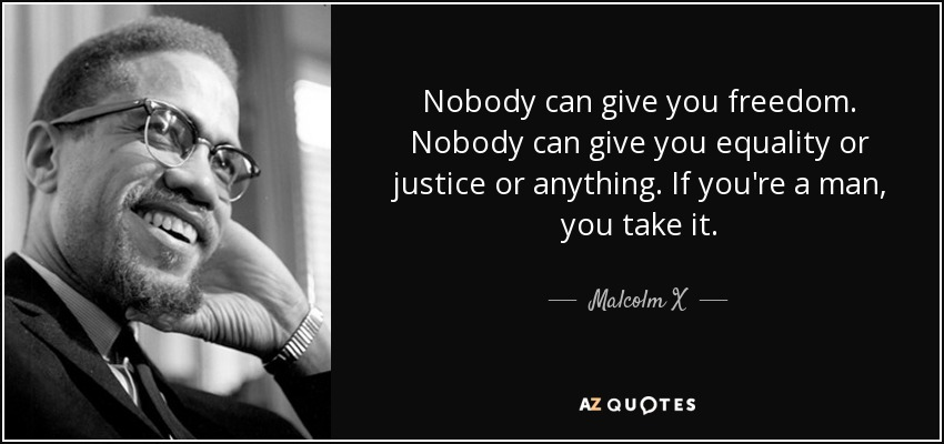 Nobody can give you freedom. Nobody can give you equality or justice or anything. If you're a man, you take it. - Malcolm X