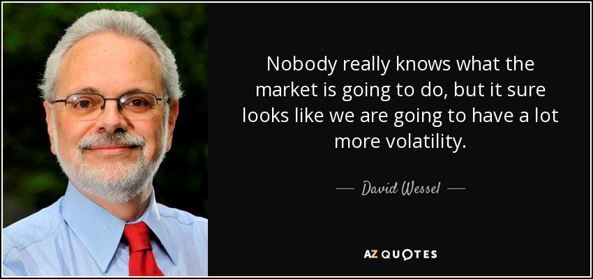 Nobody really knows what the market is going to do, but it sure looks like we are going to have a lot more volatility. - David Wessel