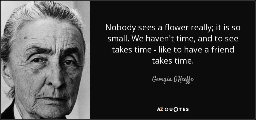 Nobody sees a flower really; it is so small. We haven't time, and to see takes time - like to have a friend takes time. - Georgia O'Keeffe