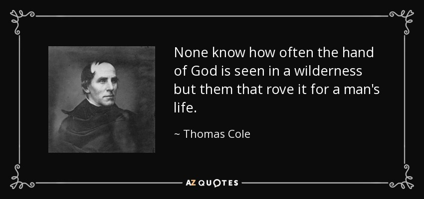 None know how often the hand of God is seen in a wilderness but them that rove it for a man's life. - Thomas Cole