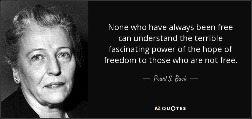 None who have always been free can understand the terrible fascinating power of the hope of freedom to those who are not free. - Pearl S. Buck