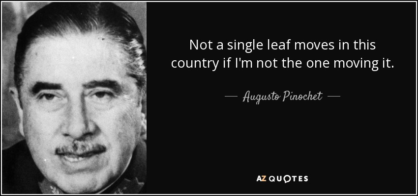 Not a single leaf moves in this country if I'm not the one moving it. - Augusto Pinochet