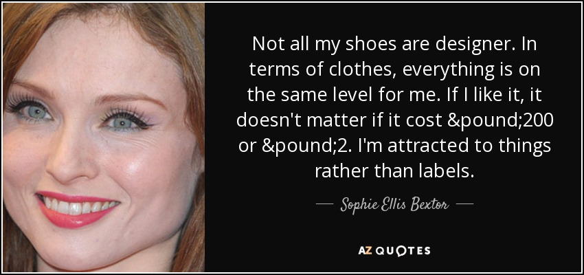 Not all my shoes are designer. In terms of clothes, everything is on the same level for me. If I like it, it doesn't matter if it cost £200 or £2. I'm attracted to things rather than labels. - Sophie Ellis Bextor