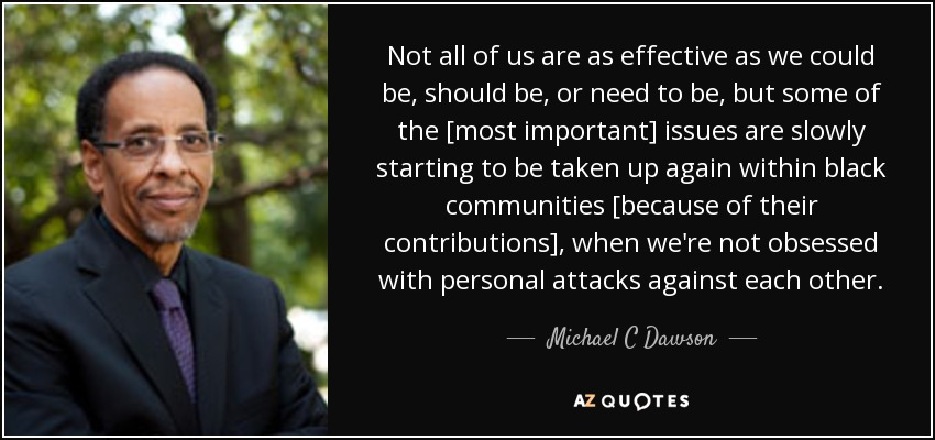 Not all of us are as effective as we could be, should be, or need to be, but some of the [most important] issues are slowly starting to be taken up again within black communities [because of their contributions], when we're not obsessed with personal attacks against each other. - Michael C Dawson