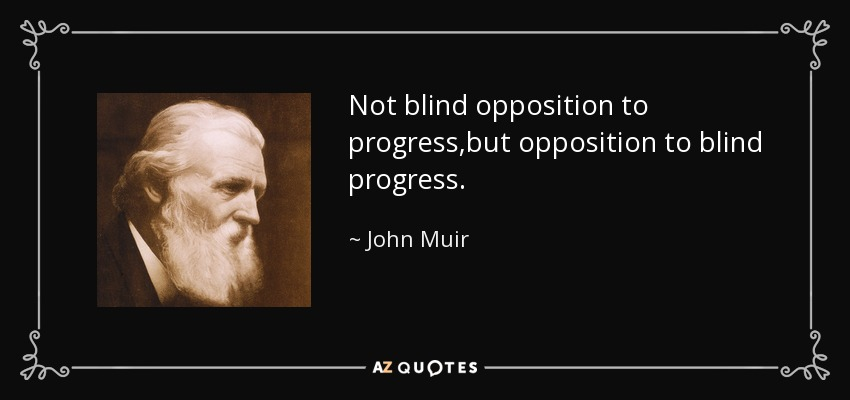 Not blind opposition to progress,but opposition to blind progress... - John Muir