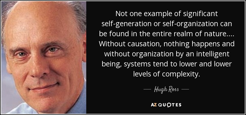Not one example of significant self-generation or self-organization can be found in the entire realm of nature.... Without causation, nothing happens and without organization by an intelligent being, systems tend to lower and lower levels of complexity. - Hugh Ross