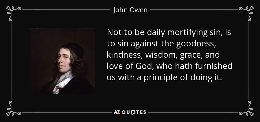 Not to be daily mortifying sin, is to sin against the goodness, kindness, wisdom, grace, and love of God, who hath furnished us with a principle of doing it. - John Owen