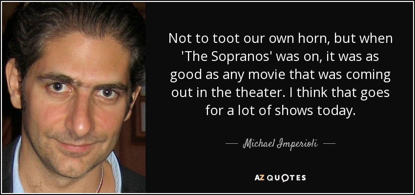 Not to toot our own horn, but when 'The Sopranos' was on, it was as good as any movie that was coming out in the theater. I think that goes for a lot of shows today. - Michael Imperioli