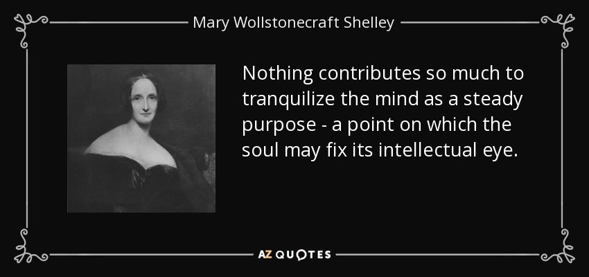 Nothing contributes so much to tranquilize the mind as a steady purpose - a point on which the soul may fix its intellectual eye. - Mary Wollstonecraft Shelley