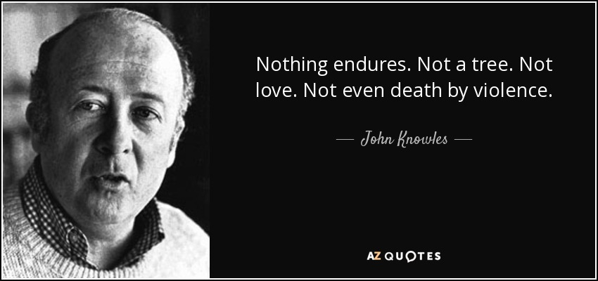 Nothing endures. Not a tree. Not love. Not even death by violence. - John Knowles