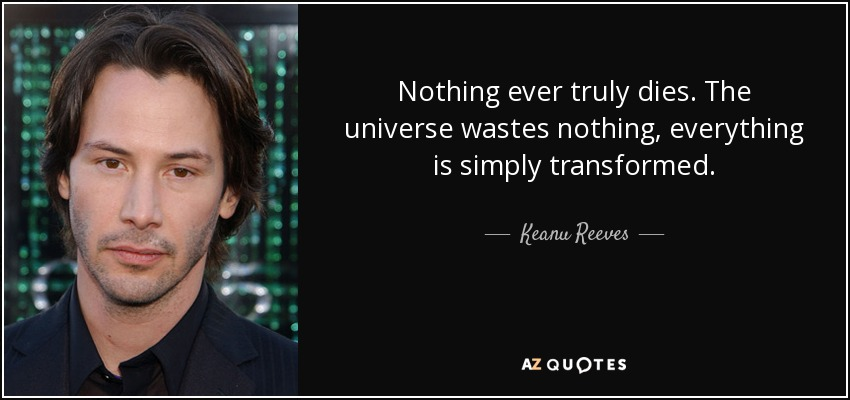 Nothing ever truly dies. The universe wastes nothing, everything is simply transformed. - Keanu Reeves