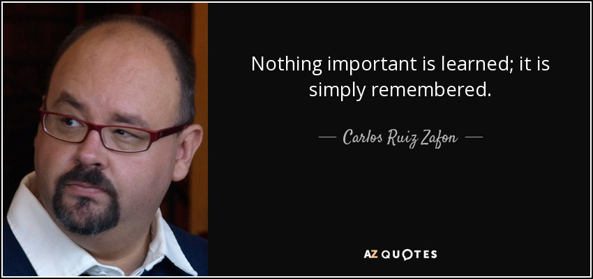 Nothing important is learned; it is simply remembered. - Carlos Ruiz Zafon