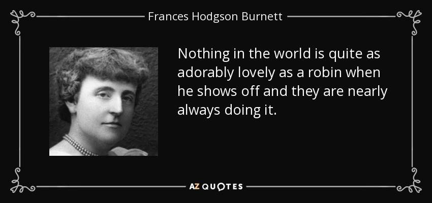 Nothing in the world is quite as adorably lovely as a robin when he shows off and they are nearly always doing it. - Frances Hodgson Burnett