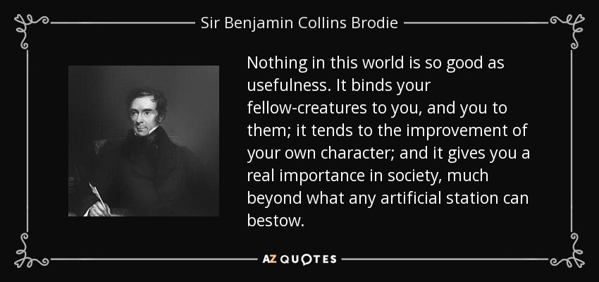 Nothing in this world is so good as usefulness. It binds your fellow-creatures to you, and you to them; it tends to the improvement of your own character; and it gives you a real importance in society, much beyond what any artificial station can bestow. - Sir Benjamin Collins Brodie, 1st Baronet