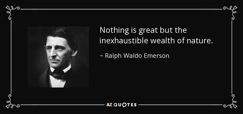 Nothing is great but the inexhaustible wealth of nature. - Ralph Waldo Emerson