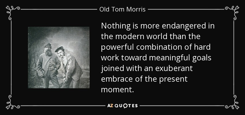 Nothing is more endangered in the modern world than the powerful combination of hard work toward meaningful goals joined with an exuberant embrace of the present moment. - Old Tom Morris