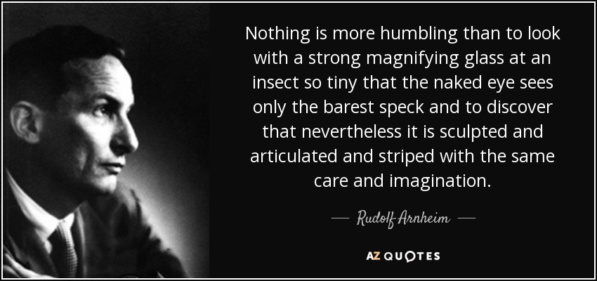 Nothing is more humbling than to look with a strong magnifying glass at an insect so tiny that the naked eye sees only the barest speck and to discover that nevertheless it is sculpted and articulated and striped with the same care and imagination. - Rudolf Arnheim