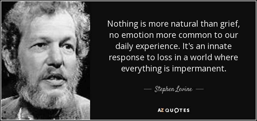 Nothing is more natural than grief, no emotion more common to our daily experience. It's an innate response to loss in a world where everything is impermanent. - Stephen Levine