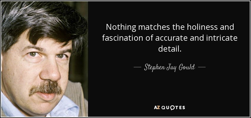 Nothing matches the holiness and fascination of accurate and intricate detail. - Stephen Jay Gould