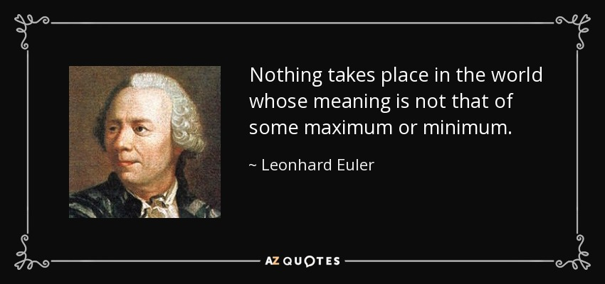 Nothing takes place in the world whose meaning is not that of some maximum or minimum. - Leonhard Euler