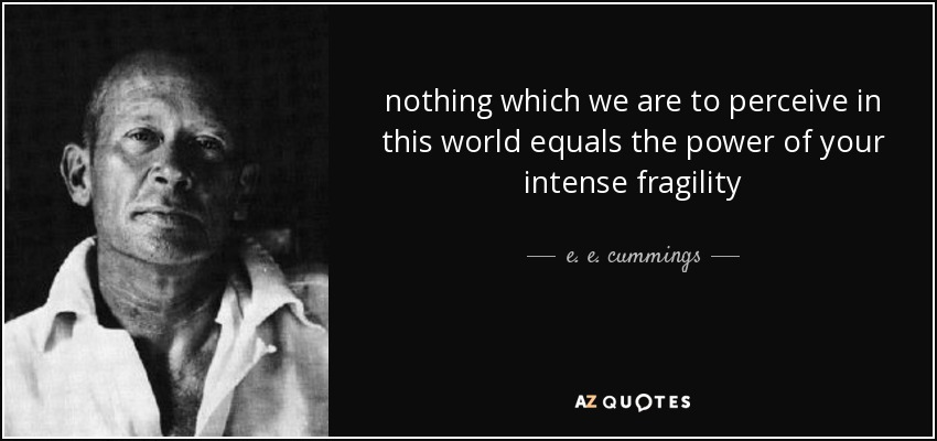 nothing which we are to perceive in this world equals the power of your intense fragility - e. e. cummings
