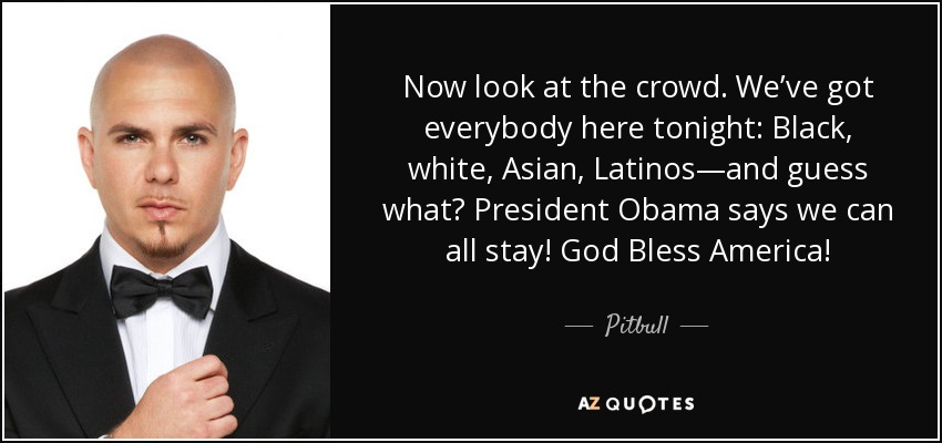 Now look at the crowd. We've got everybody here tonight: Black, white, Asian, Latinos—and guess what? President Obama says we can all stay! God Bless America! - Pitbull