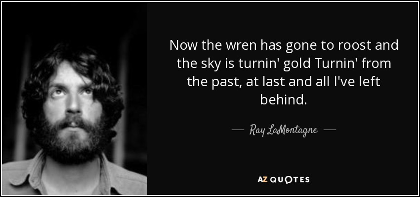 Now the wren has gone to roost and the sky is turnin' gold Turnin' from the past, at last and all I've left behind. - Ray LaMontagne