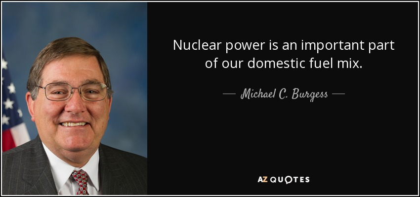 Nuclear power is an important part of our domestic fuel mix. - Michael C. Burgess