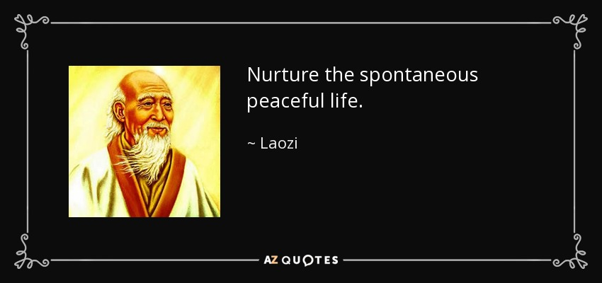 Nurture the spontaneous peaceful life. - Laozi